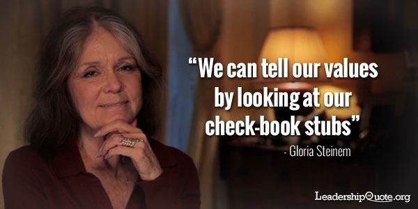 We can tell our values by looking at our check-book stubs