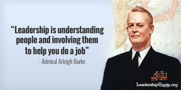 Admiral Arleigh Burke Quote - Leadership is understanding people and involving them to help you do a job